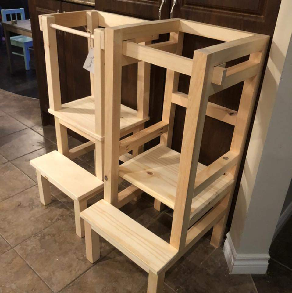 A Mom and Her Drill learning tower and Grow With Me tower side by side